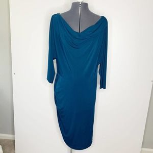 Suzi Chin Blue Long Sleeve Cowl Neck Ruched Dress Women's Plus Size 14